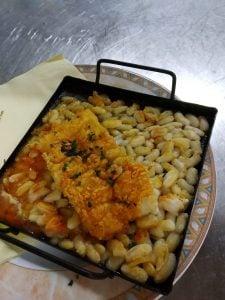 Bacallà a la llauna del menú del dia Restaurant Sant Antoni de Premià de Dalt